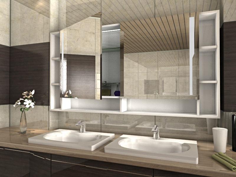 Yukiko bad spiegelschrank mit offenen regalf chern und led for Bad spiegelschrank einbau