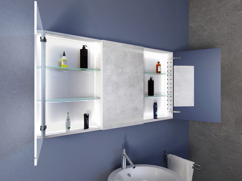 Spiegelschrank mit beleuchtung luisa made in germany for Einbau spiegelschrank