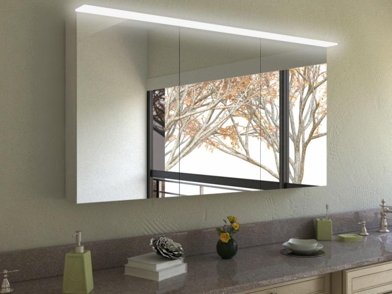 Spiegelschrank Qiong mit Aufsatzleuchte aus Glas
