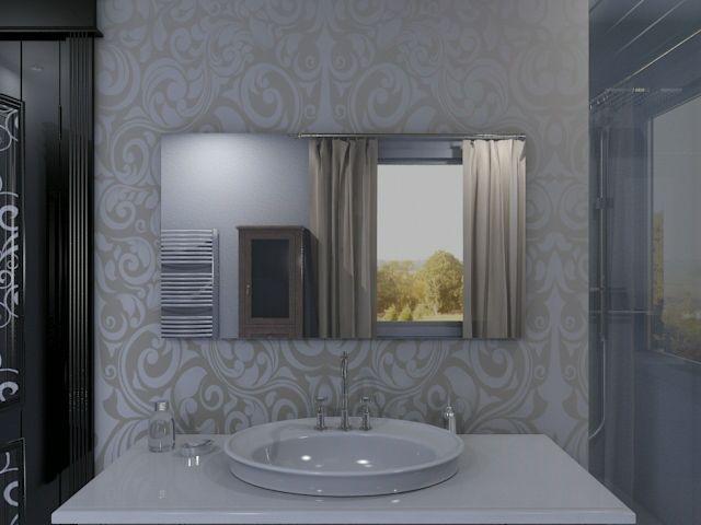 badspiegel mit beleuchtung im hintergrund schlicht modern vom profi. Black Bedroom Furniture Sets. Home Design Ideas