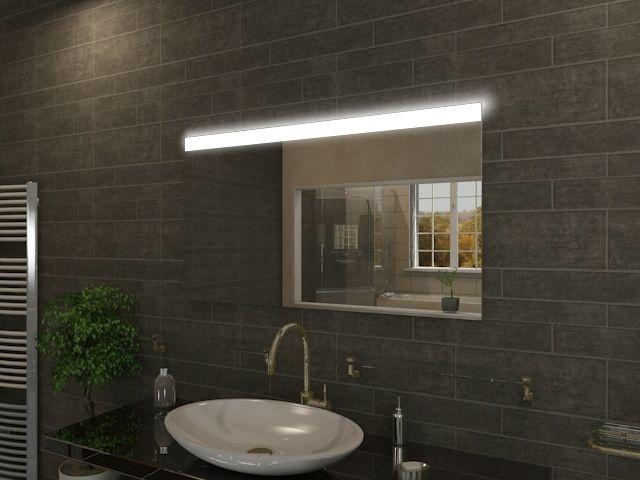badspiegel led tylee mit extravaganter oberbeleuchtung und extras. Black Bedroom Furniture Sets. Home Design Ideas