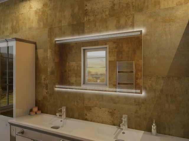 badspiegel kaylin eleganter spiegel mit beleuchtung unten oben. Black Bedroom Furniture Sets. Home Design Ideas