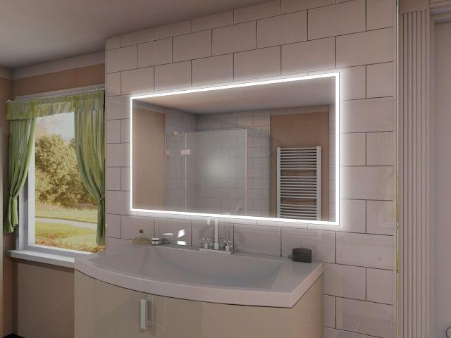 eleganter badspiegel mit steckdose und led rundum beleuchtung. Black Bedroom Furniture Sets. Home Design Ideas