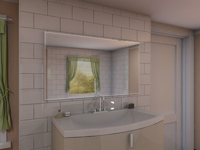 ren eleganter badezimmerspiegel beleuchtet mit modernen. Black Bedroom Furniture Sets. Home Design Ideas