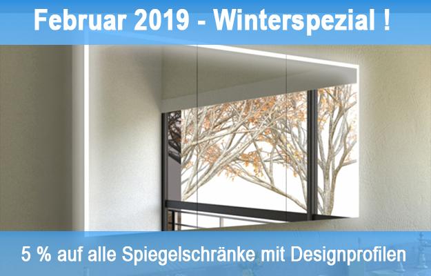 Februar 2019: Winterspezial – 5 % Rabatt für alle Spiegelschränke mit Designprofilen